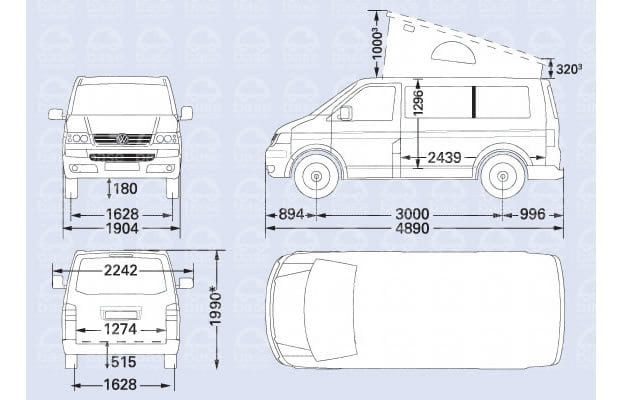 VW T5 campervan dimensions